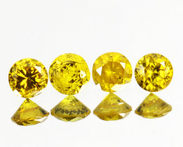 ~SET~ 0.04Cts Natural Sparkling Yellow Diamond 4Pcs Round Africa