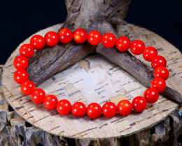 91.50Ct Natural Red Coral Beads Bracelet B2245