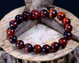 139.80Ct Natural Red Tiger Eye Beads Bracelet B2247
