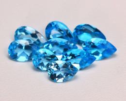 Swiss Blue Topaz 8.60Ct 9Pcs Pear Cut Natural Swiss Blue Topaz Lot B2306