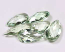 Prasiolite 28.66Ct 6Pcs Pixalated Cut Natural Leaf Green Amethyst B2341