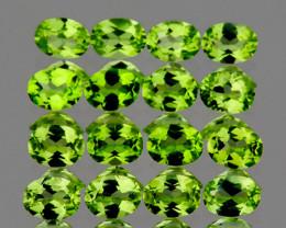 4x3 mm Oval 16 pcs 3.22cts Green Peridot [VVS]
