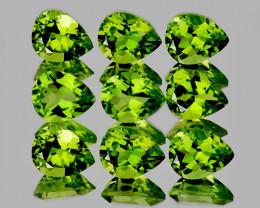 6x4 mm Pear 9 pcs 3.93cts Green Peridot [VVS]