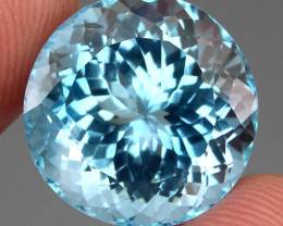 VVS 30.41 Ct 17 Mm Round Cut 100% Natural Top Swiss Blue Topaz Brazil Explo