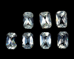 2.96 Cts Natural Sparkling White Zircon 5x3mm Radiant Cut 7Pcs Tanzania