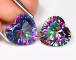 Mystic Topaz 7.10Ct 2Pcs Heart Cut Natural Rainbow Mystic Topaz B2369