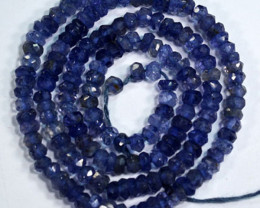 23.00 Cts Natural Blue Iolite Beads Tanzania - 33 cm and 3.2 mm