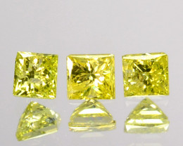 0.08 Cts Natural Diamond Golden Yellow 3Pcs Princess Cut Africa