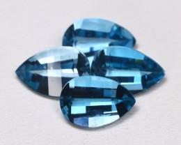 London Topaz 6.01Ct 4Pcs Pixalated Cut Natural London Blue Topaz B2409