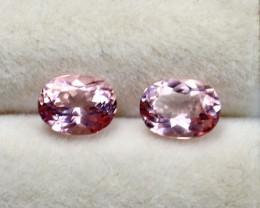 GGTI-Certified-1.40 ct Pink Morganite Gemstone Natural Pair