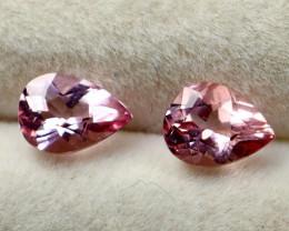 GGTI-Certified-1.30 ct Pink Morganite Gemstone Natural Pair