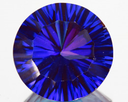 ~WONDER~ 8.17Cts Tanzanite Color Natural Topaz 12mm Round Concave Braz