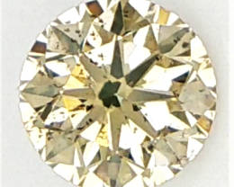 0.16 CTS , Round Brilliant Cut , Light Yellow Color