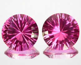 22.70Cts Candy Pink Natural Topaz 14mm Round Concave Cut Pair  Brazil