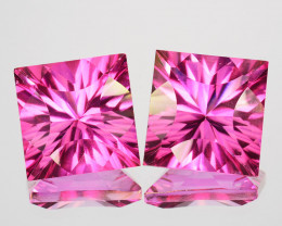 Matching Pair! 11.84 Cts Candy Pink Natural Topaz 10mm Square Concave
