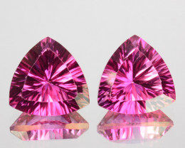 5.94Cts Candy Pink Natural Topaz 9mm Trillion Concave  Cut 2Pcs Brazil