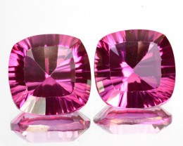 Matching pair!9.66Cts Candy Pink Natural Topaz  Cushion Concave Cut 10mm B