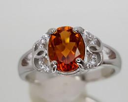 14Crt Madeira Citrine 925 Silver Ring 7  Natural Gemstones JI27