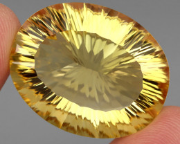 Jumbo Very Clean 62.61 ct. Concave Cut 100% Natural Yellow Citrine