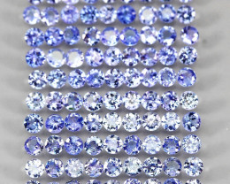 6.98ct 90pcs. 2.6mm Round Cut Natural Rich Blue Violet Tanzanite Unheated