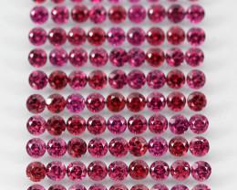10.8ct 90p 2.7mm Round Cut Natural Neon Purple Rhodolite Garnet