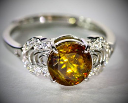 Sphene 2.00ct White Gold Finish Solid 925 Sterling Silver Ring