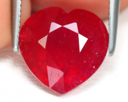 Red Ruby 3.75Ct Heart Cut Pigeon Blood Red Ruby AB2690