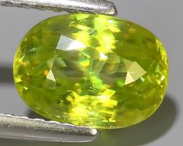 2.00 Cts-Excellent Hot Neon Green Sparks- Sphene/Titanite- Oval Gem!!