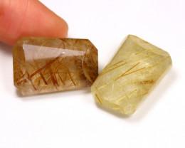 Rutilated Quartz 41.17Ct 2Pcs Natural Gold Rutile Quartz AB2706