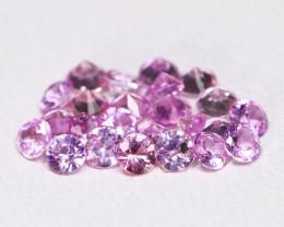 1.38Ct Calibrate 2.2mm Natural Vivid Pink Sapphire Round Lot B2724
