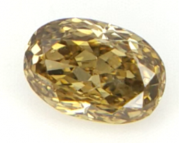 0.11 cts , Brown Green Diamond , Natural Oval Brilliant Cut