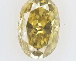 0.11 CTS , Oval Brilliant Cut , Yellow tone Diamond