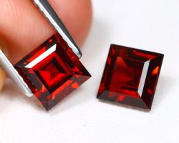 Almandine 2.80Ct 2Pcs Square Cut Natural Almandine Garnet AB2806