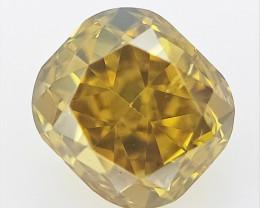 0.15 CTS , Yellow Color Diamond , Cushion Brilliant Cut