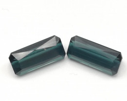 Indicolite pair, 3.9ct, very clean perfect matching pair!!