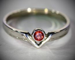 Red Garnet .26ct Platinum Finish Solid 925 Sterling Silver Ring