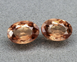 Pair 2pc/2.71ct t.w  VS-VVS Oval Natural Unheated Imperial Champagne Zircon