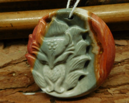 Succor jasper carved fox pendant (G2441)