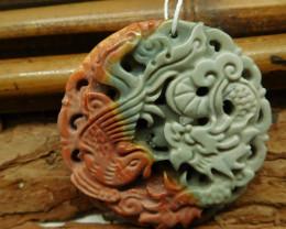 Natural gemstone jasper carved dragon pendant (G2442)