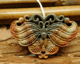 Animal carving succor carved butterfly pendant (G2443)