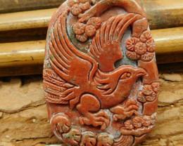 Red jasper carved eagle pendant (G2455)