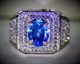 Blue Topaz 3.30ct Platinum Finish Solid 925 Sterling Silver Ring