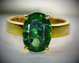 Green Apatite 4.85ct Solid 18K Yellow Gold Ring