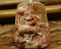 Rhodonite carved deer pendant (G2460)