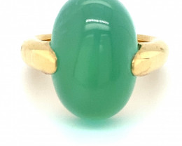 Cats Eye Green Calcite 18.14ct Solid 18K Yellow Gold Ring