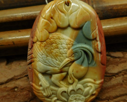 Succor jasper carved peacock pendant (G2463)