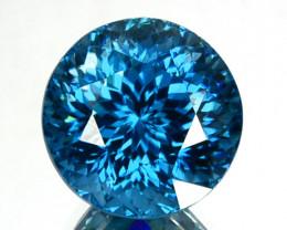 7.78 Cts Fine Quality Natural Pretty Blue Zircon 10mm Round Flower Cut Ref