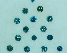 Fabulous!!!  0.20 Cts Natural Diamond Greenish Blue Round 1.40mm  parcel A