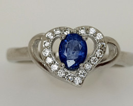 15CT BLUE SAPPHIRE 925 SILVER RING BEST QUALITY GEMSTONE IIGC53