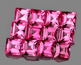 2.80 mm Square 12 pcs 1.58cts Hot Pink Tourmaline [VVS]